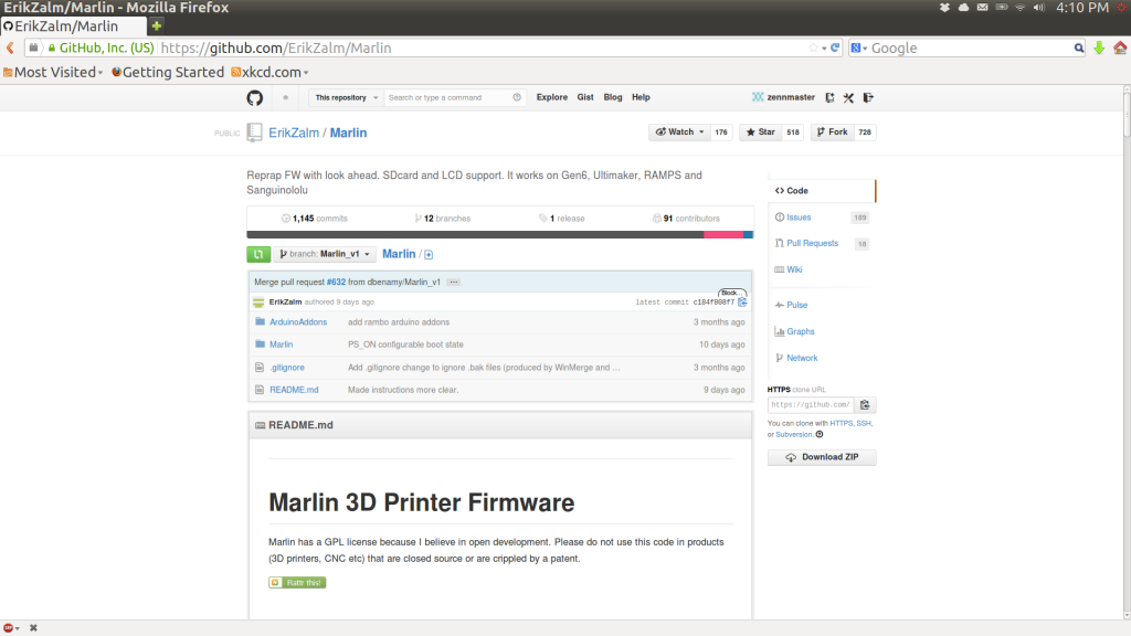 The front Page of ErikZalm's Marlin repository on Github.
